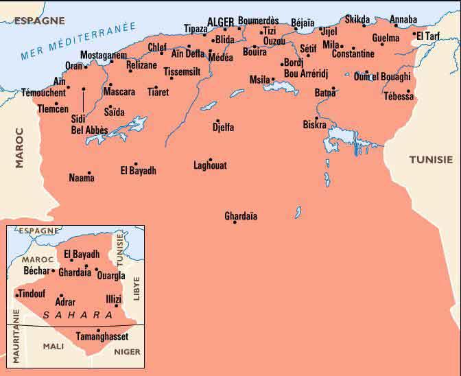 carte geo de d'algerie